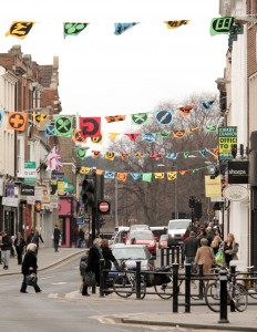 22/02/13 High Street Flags - High Street, Bedford Art installation on Bedford High Street